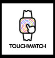 touch square watch app logo vector image