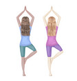 two girls dark-skinned and white doing yoga tree vector image