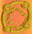 Two three-dimensional gold flange on an orange vector image vector image