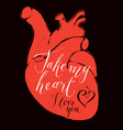 valentine card with human heart and inscriptions vector image