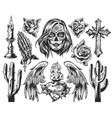 vintage dia de los muertos composition vector image vector image
