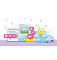 website global information with social message vector image