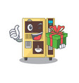 with gift coffee vending machine in a karakter vector image vector image