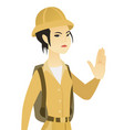 young asian traveler showing stop hand gesture vector image vector image