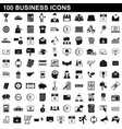 100 business icons set simple style vector image