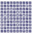 100 antiterrorism icons set grunge sapphire vector image vector image