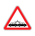 attention car crash caution accident cars vector image vector image