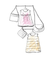 Baby dress sketch Clothes on the hanger Hand vector image vector image