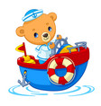 bear sailor on boat cartoon vector image