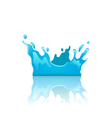 Blue water splash crown with reflection isolated vector image vector image