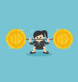businesswoman lifts coin very heavy fall of vector image vector image