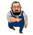 cartoon man with a beard wearing glasses vector image vector image