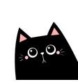cat in corner black silhouette cute cartoon vector image