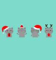 cat set holding gift box xmas ball cartoon kawaii vector image