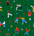 christmas people cartoon party seamless pattern vector image vector image