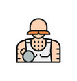 circus athlete strongman flat color line icon vector image