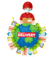 contactless delivery logo with delivery man on vector image