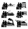 couple lover honeymoon holiday trip stick figure vector image
