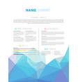 creative simple cv template with colorful low vector image vector image