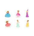 cute girls in princess dresses set elegant vector image