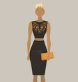 fashion model in the black embroidered dress vector image vector image
