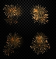Festive Set Fireworks Salute on Transparent vector image vector image