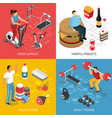 fitness sport nutrition isometric concept vector image vector image