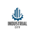 gear and building industrial city vector image vector image