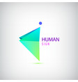 geometric origami man logo sign leader vector image vector image