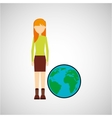 girl concept ecological globe vector image vector image