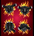 glock pistol weapon fire flames background vector image vector image