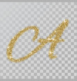 gold glitter powder letter a in hand painted style vector image vector image