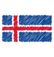hand drawn national flag of iceland isolated on a vector image vector image