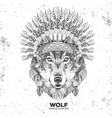 hipster animal wolf with indian feather headdress vector image