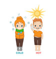 hot and cold boy hot and cold boy vector image
