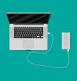 laptop charging from powerbank vector image vector image