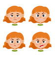 little red-haired girl angry face expression vector image