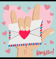 Love Letter with Love hand sign vector image vector image