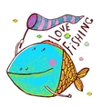 Lovely Cartoon Funny Fish Greeting Card Design vector image
