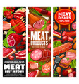 meat sausage beef and pork salami ham and bacon vector image