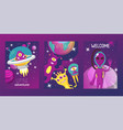 monster alien set of cards vector image vector image