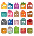 playful character icons in different colors vector image