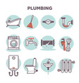 plumbing template with flat icons set on white vector image vector image