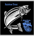 rainbow trout fishing on usa isolated on black vector image vector image