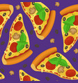 realistic detailed 3d pizza slice seamless pattern vector image