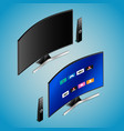 realistic smart tv in isometry vector image vector image