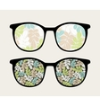 Retro sunglasses with floral reflection in it vector image