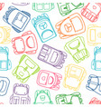 school pattern with colorful outline backpacks vector image vector image