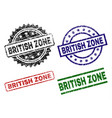 scratched textured british zone stamp seals vector image vector image