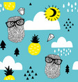 seamless pattern with doodle owls in eyeglasses vector image vector image